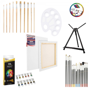 U.S Art Supply 42-Piece Oil Painting Set with Aluminum Tabletop Easel - best oil paint set