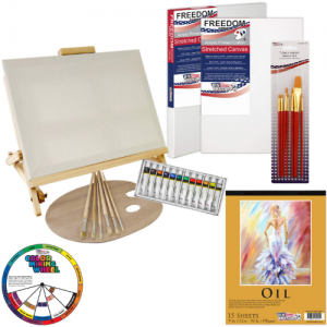 U.S. Art Supply 35-Piece Oil Painting Table Easel Set