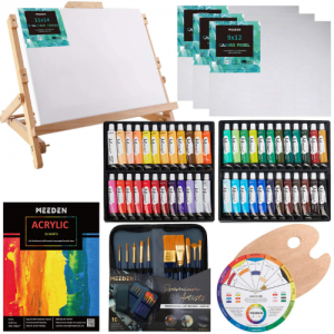 MEEDEN 66-Piece Acrylic Painting Set with Solid Beech Wood Table Easel