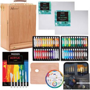 MEEDEN 70-Piece Premium Acrylic Painting Set - Solid Beech Wood Easel box