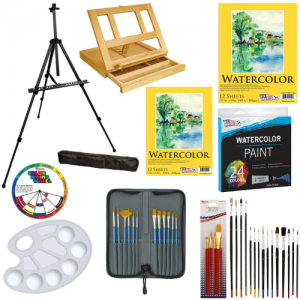 US Art Supply 69-Piece Watercolor Paint Set with Aluminum Easel