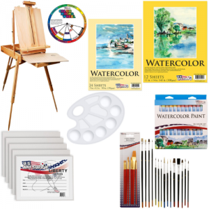 U.S. Art Supply 57-Piece Watercolor Painting Kit with French Easel